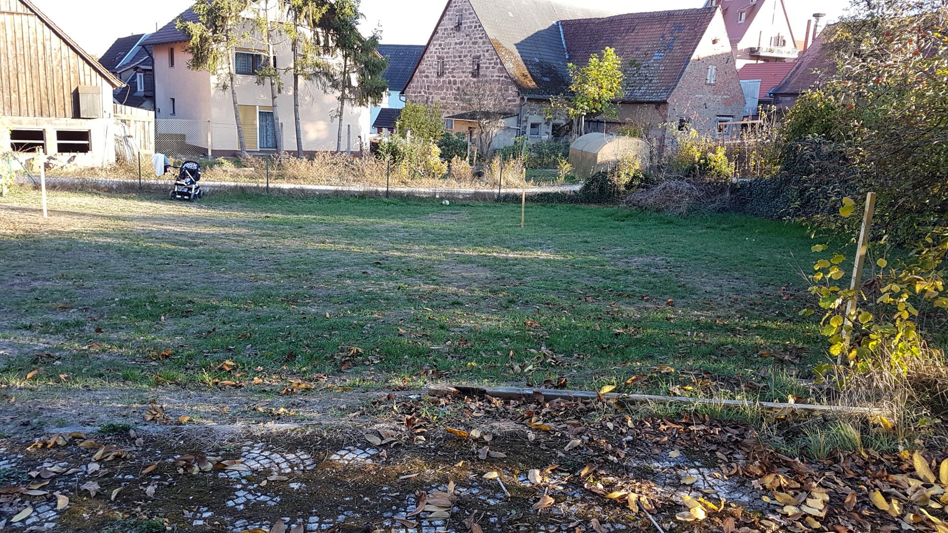 Unser Grundstück mit grob abgestecktem Haus