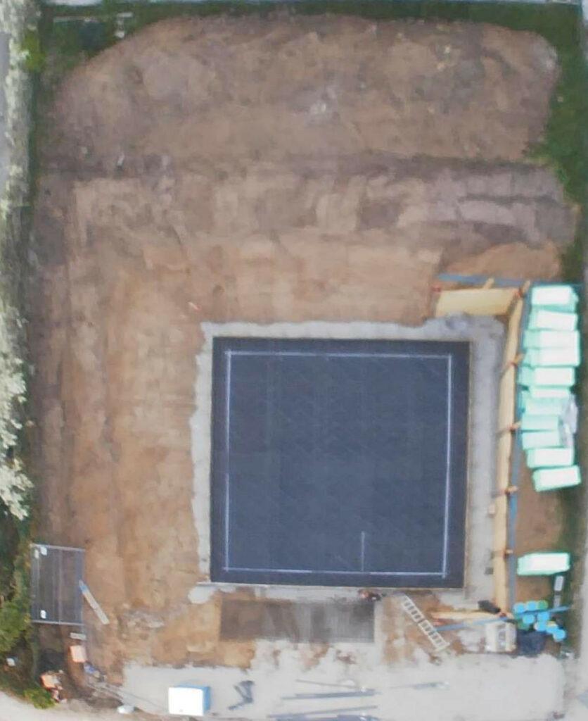 Luftbild der vorbereiteten Bodenplatte